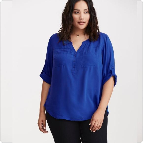 958b54e46ad torrid Tops   Harper Blue Challis Pullover Blouse   Poshmark